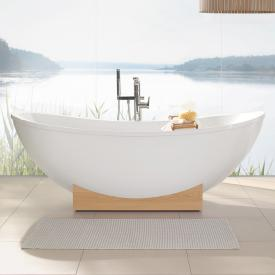 Villeroy & Boch My Nature Duo freestanding bath white, wooden console chestnut