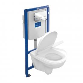 Villeroy & Boch O.novo wall-mounted washdown toilet, open rim, toilet seat, Combi-Pack ViConnect chrome flush plate