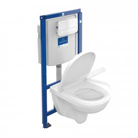 Villeroy & Boch O.novo wall-mounted washdown toilet ViConnect combi pack, open flush rim, with toilet seat white flush plate