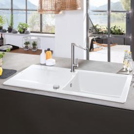 Villeroy & Boch Siluet 50 built-in sink with draining board and pop-up waste snow white/position boreholes 1 and 2