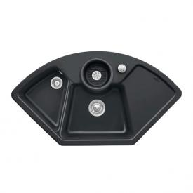 Villeroy & Boch Solo Corner sink with pop-up waste W: 107.5 D: 60 cm ebony/position boreholes 1 and 2