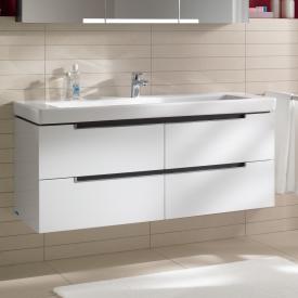 Villeroy & Boch Subway 2.0 Lavabo avec meuble sous-lavabo à 4 tiroirs blanc, avec CeramicPlus, 1 trou percé, avec trop-plein