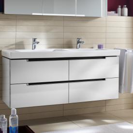 Villeroy & Boch Subway 2.0 Meuble sous-lavabo XL pour lavabo double avec 4 tiroirs Façade blanc brillant/corps du meuble blanc brillant, poignée argent mat