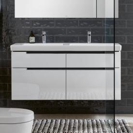 Villeroy & Boch Subway 2.0 Meuble sous-lavabo XXL pour lavabo double avec 4 tiroirs Façade blanc brillant/corps du meuble blanc brillant, poignée chromée