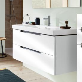 Villeroy & Boch Subway 2.0 Meuble sous-lavabo XL avec 2 tiroirs Façade blanc brillant/corps du meuble blanc brillant, poignée chromée