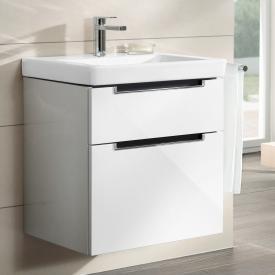 Villeroy & Boch Subway 2.0 Meuble sous-lavabo XXL avec 2 tiroirs Façade blanc brillant/corps du meuble blanc brillant, poignée chromée