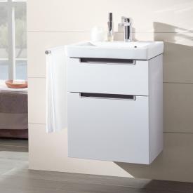 Villeroy & Boch Subway 2.0 Meuble sous-lave-mains XXL avec 2 tiroirs Façade blanc brillant/corps du meuble blanc brillant, poignée chromée