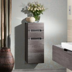 Villeroy & Boch Subway 2.0 side unit with 1 door and 2 drawers front graphite oak / corpus graphite oak, white top, chrome handles