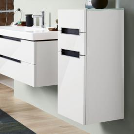 Villeroy & Boch Subway 2.0 side unit with 1 door and 2 drawers front glossy white / corpus glossy white, white top, matt silver handles