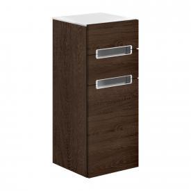 Villeroy & Boch Subway 2.0 side unit with 1 door and 2 drawers front santana oak / corpus santana oak, white top, matt silver handles