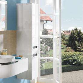 Villeroy & Boch Subway 2.0 tall unit with 2 doors and 1 drawer front glossy white / corpus glossy white, chrome handle