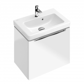 Villeroy & Boch Subway 2.0 vanity unit with 1 pull-out compartment front glossy white / corpus glossy white, chrome handle