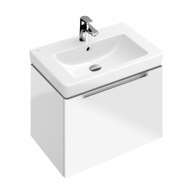 Villeroy & Boch Subway 2.0 vanity unit with 1 pull-out compartment front glossy white / corpus glossy white, matt silver handle