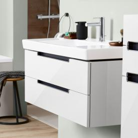 Villeroy & Boch Subway 2.0 vanity unit with 2 pull-out compartments front glossy white / corpus glossy white, matt silver handle