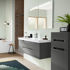 Villeroy & Boch Subway 2.0 washbasin with vanity unit and My View In mirror cabinet front glossy grey/mirrored/ corpus glossy grey/aluminium