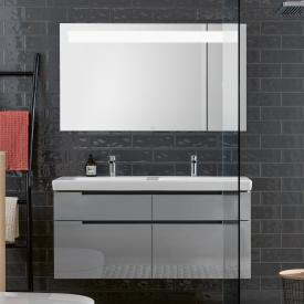 Villeroy & Boch Subway 2.0 washbasin with vanity unit and More to See 14 mirror front glossy grey/mirrored / corpus glossy grey/matt aluminium, handle matt silver