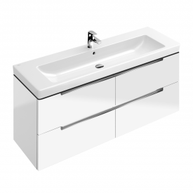 Villeroy & Boch Subway 2.0 XL vanity unit with 4 pull-out compartments front glossy white / corpus glossy white, chrome handles