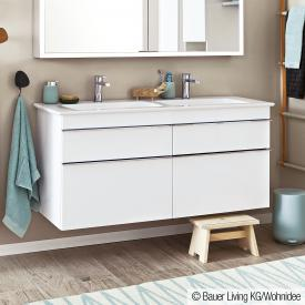 Villeroy & Boch Venticello double washbasin with vanity unit with 4 pull-out compartments white, with CeramicPlus, with 2 tap holes, with overflow