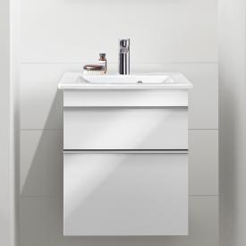 Villeroy & Boch Venticello hand washbasin with vanity unit with 2 pull-out compartments front glossy white / corpus glossy white, handle chrome, WB white