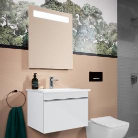 Villeroy & Boch Venticello Lavabo avec meuble sous-lavabo et miroir More to See 14 Façade blanc brillant/réfléchissant/corps du meuble blanc brillant/aluminium mat, poignée chromée