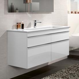 Villeroy & Boch Venticello Meuble sous-lavabo XXL pour lavabo double, avec 4 tiroirs Façade blanc brillant/corps du meuble blanc brillant, poignée chromée
