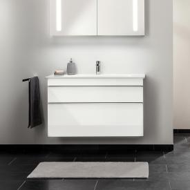 Villeroy & Boch Venticello Meuble sous-lavabo XXL, avec 2 tiroirs Façade blanc brillant/corps du meuble blanc brillant, poignée chromée