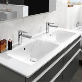 Villeroy & Boch Venticello Plan vasque double blanc, avec CeramicPlus, 2 trous percés, avec trop-plein