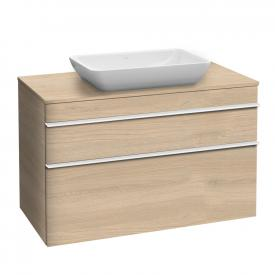 Villeroy & Boch Venticello vanity unit XXL for countertop washbasins with 2 pull-out compartments front impresso elm / corpus impresso elm, white handle