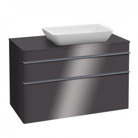 Villeroy & Boch Venticello vanity unit XXL for countertop washbasins with 2 pull-out compartments front glossy grey / corpus glossy grey, grey handle