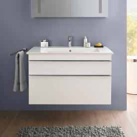 Villeroy & Boch Venticello washbasin with vanity unit with 2 pull-out compartments white, with CeramicPlus, with 1 tap hole, with overflow