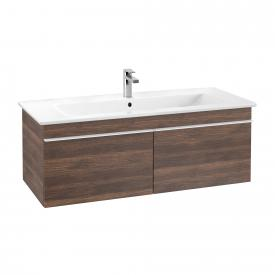 Villeroy & Boch Venticello washbasin with vanity unit with 2 pull-out compartments front arizona oak / corpus arizona oak, handle white, WB white, with CeramicPlus, with 1 tap hole