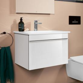 Villeroy & Boch Venticello washbasin with vanity unit with 1 pull-out compartment front glossy white / corpus glossy white, handle chrome, WB white, with CeramicPlus, with 1 tap hole