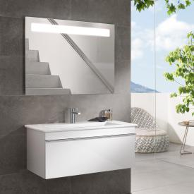 Villeroy & Boch Venticello washbasin with vanity unit and More to See 14 mirror front glossy white/mirrored / corpus glossy white/matt aluminium, handle chrome