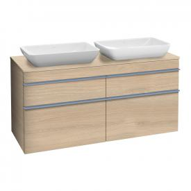 Villeroy & Boch Venticello XXL vanity unit for 2 countertop basins with 4 pull-out compartments front impresso elm / corpus impresso elm, blue handles