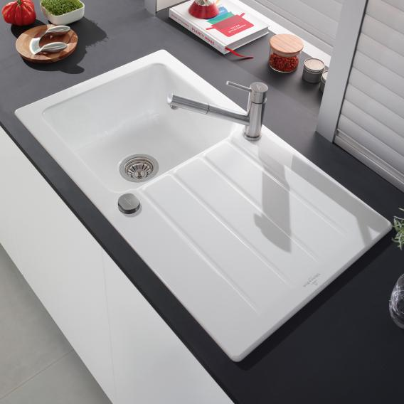 Villeroy & Boch Architectura 50 built-in sink with draining board white alpine/position boreholes 1 and 2