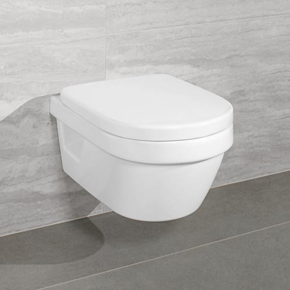 Villeroy & Boch Architectura combi pack wall-mounted washdown toilet, open flush rim, with toilet seat white, with CeramicPlus