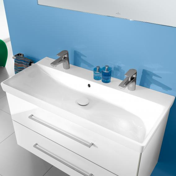 Villeroy & Boch Avento double washbasin with vanity unit with 2 pull-out compartments front crystal white / corpus crystal white, WB white, with CeramicPlus