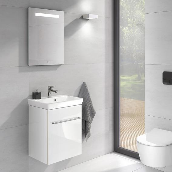 Villeroy & Boch Avento hand washbasin with vanity unit and More to See One mirror front crystal white/mirrored / corpus crystal white/mirrored