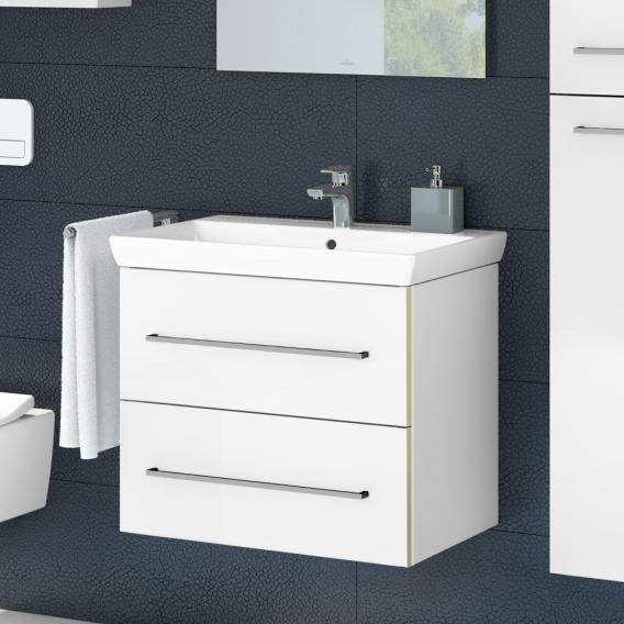 Villeroy & Boch Avento washbasin with vanity unit with 2 pull-out compartments front crystal white / corpus crystal white, WB white, with CeramicPlus