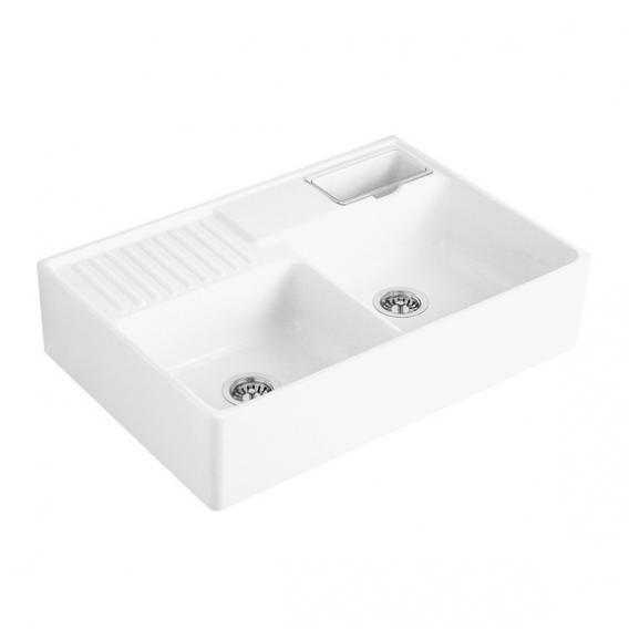 Villeroy & Boch double-bowl butler sink with basket strainers white alpine high gloss/position borehole 1