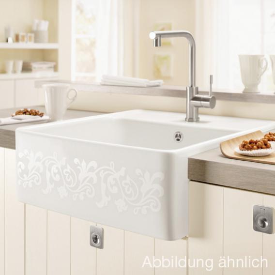 Villeroy & Boch butler single-bowl sink with basket strainer white alpine high gloss/position borehole 2