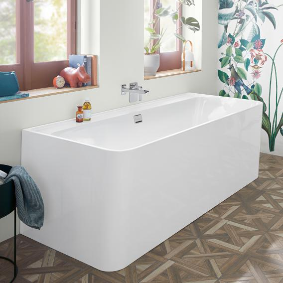 Villeroy & Boch Collaro back-to-wall bath with panelling white/white, waste/overflow set chrome