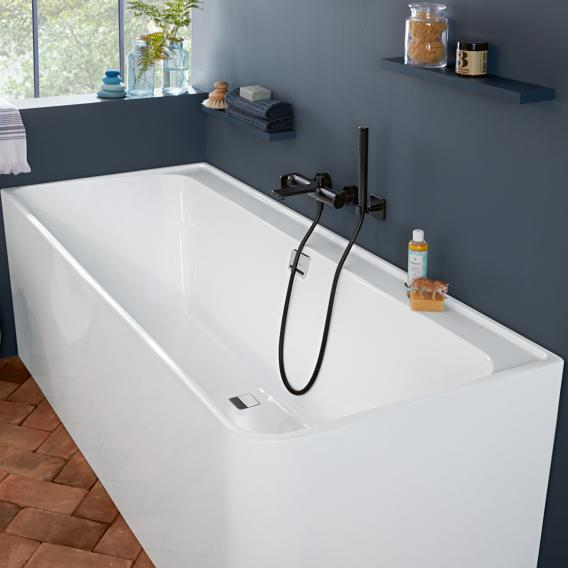 Villeroy & Boch Collaro corner bath with panelling white/white, waste/overflow set chrome