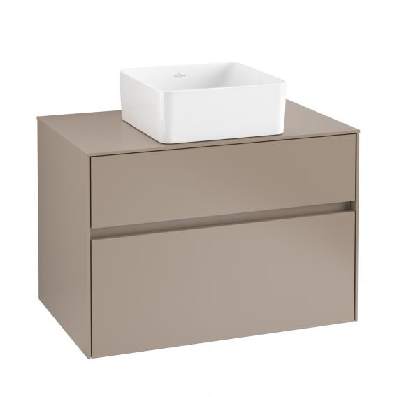 Villeroy & Boch Collaro vanity unit with 2 pull-out compartments for 1 countertop washbasin front truffle grey/corpus truffle grey, truffle grey countertop, truffle grey recessed handle