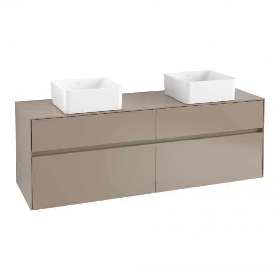 Villeroy & Boch Collaro vanity unit with 4 pull-out compartments for 2 countertop washbasins front truffle grey/corpus truffle grey, truffle grey countertop, truffle grey recessed handle