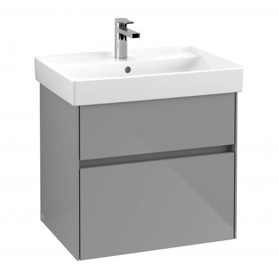 Villeroy & Boch Collaro vanity unit with 2 pull-out compartments front glossy grey / corpus glossy grey, recessed handle matt anthracite
