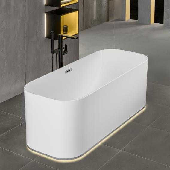 Villeroy & Boch Finion freestanding oval bath with Emotion function white, chrome, with designer ring