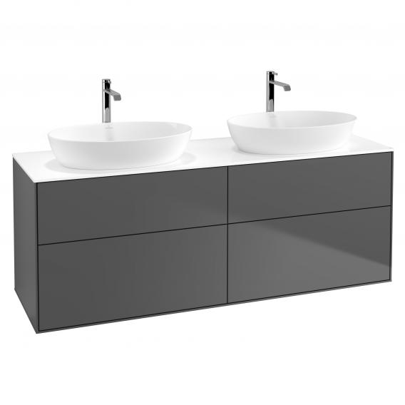 Villeroy & Boch Finion LED vanity unit for 2 countertop washbasins with 4 pull-out compartments front matt anthracite / corpus matt anthracite, top cover matt white