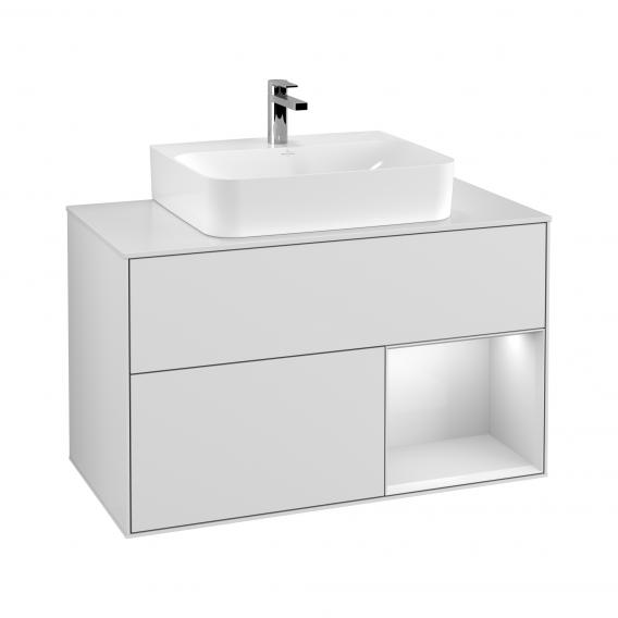 Villeroy & Boch Finion LED vanity unit with 2 pull-out compartments for countertop basins, rack element right front glossy white / corpus glossy white, top matt white