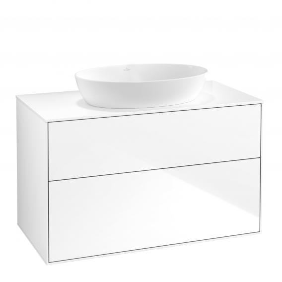 Villeroy & Boch Finion vanity unit for countertop washbasin with 2 pull-out compartments front glossy white / corpus glossy white, top cover matt white